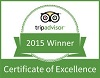 Two Bridges Hotel Certificate of Excellence from Tripadvisor