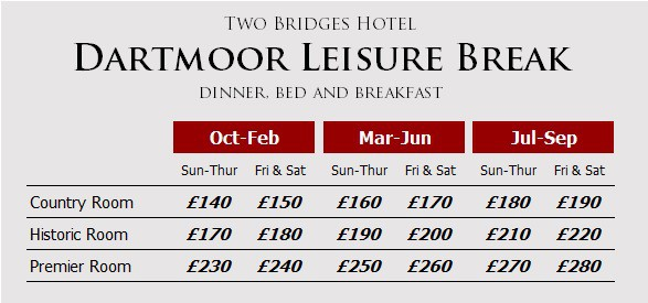 Dartmoor Leisure Break prices at the Two Bridges Hotel, Dartmoor, Devon