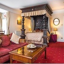 Four poster bedroom at the Two Bridges Hotel