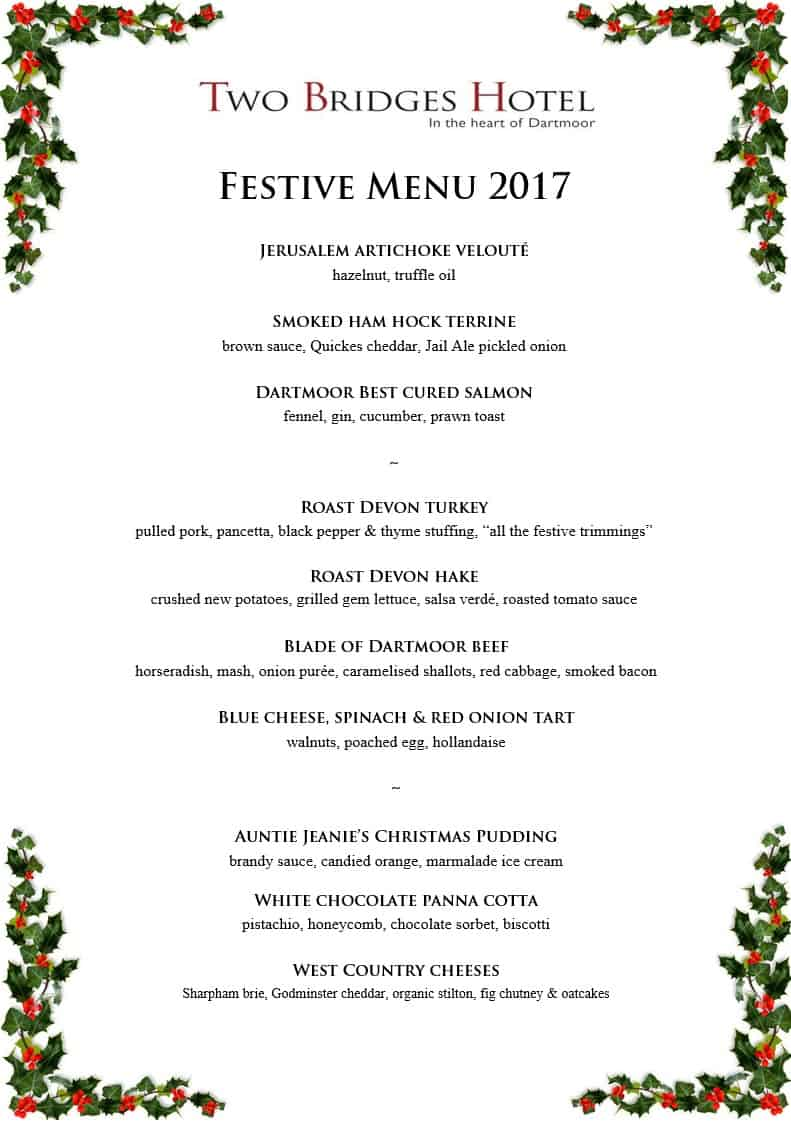 Two Bridges Hotel Festive Menu for dinner and lunch