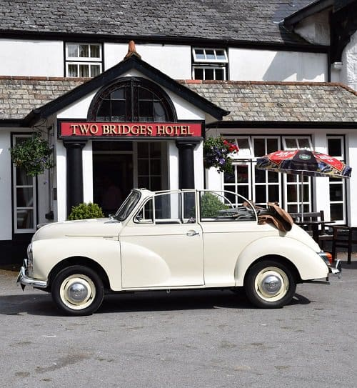 Morris Minor 1000 at the Two Bridges Hotel Dartmoor