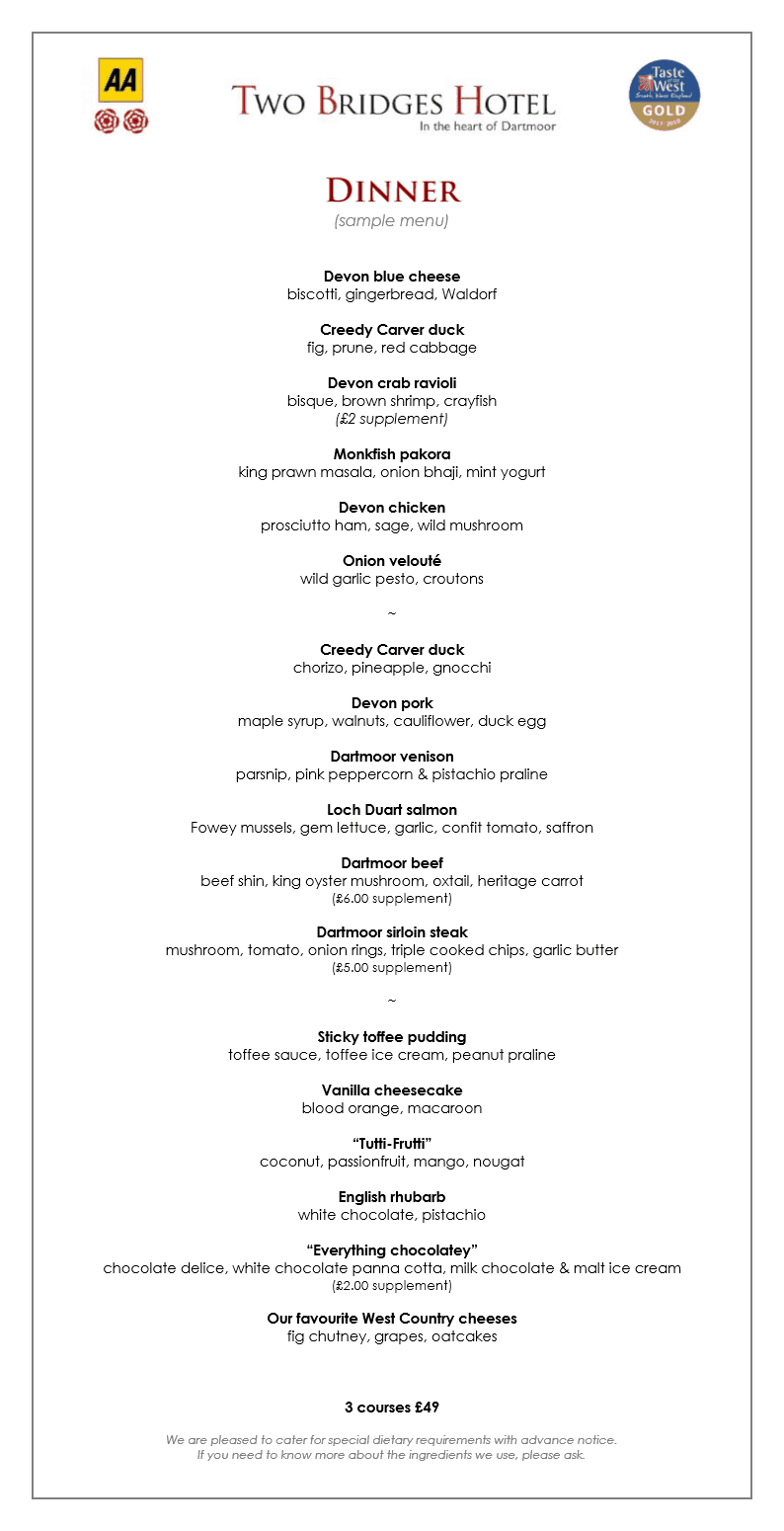 Two Bridges Hotel sample dinner menu