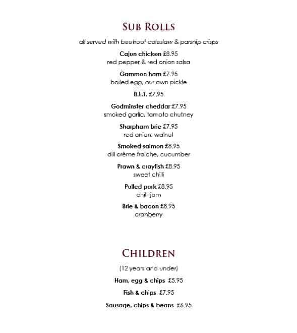 Two Bridges Hotel sample lunch menu