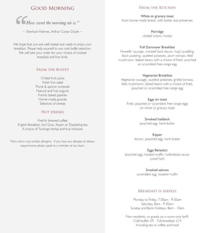 Two Bridges Hotel breakfast menu