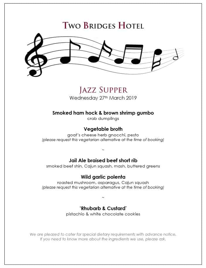 Jazz Supper menu
