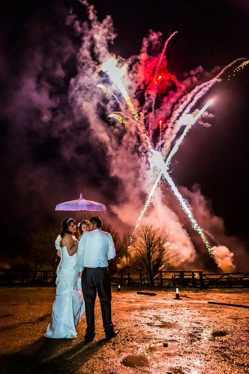 Wedding with fireworks at Two Bridges Hotel