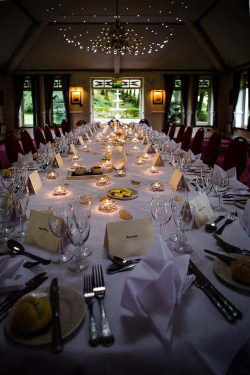 Classy wedding breakfast at Two Bridges Hotel