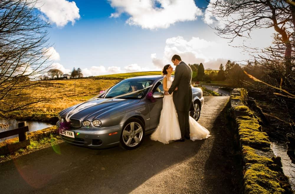 Wedding car on bridge at Two Bridges Hotel