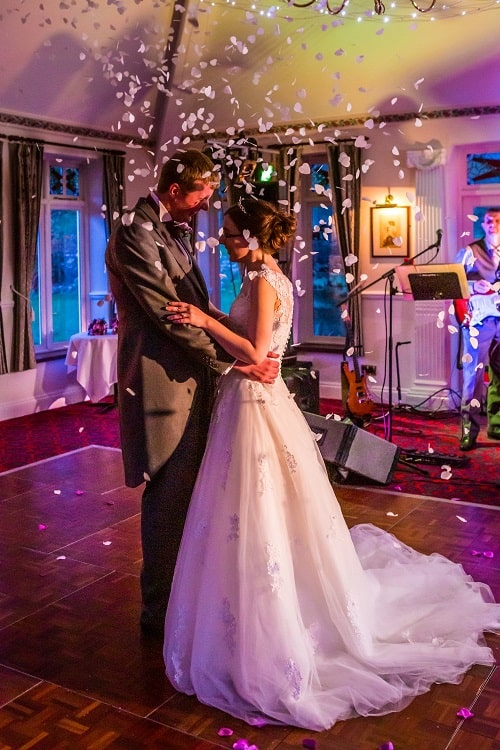Bride and groom's first dance at wedding at Two Bridges Hotel