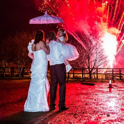 Wedding fireworks at Two Bridges Hotel
