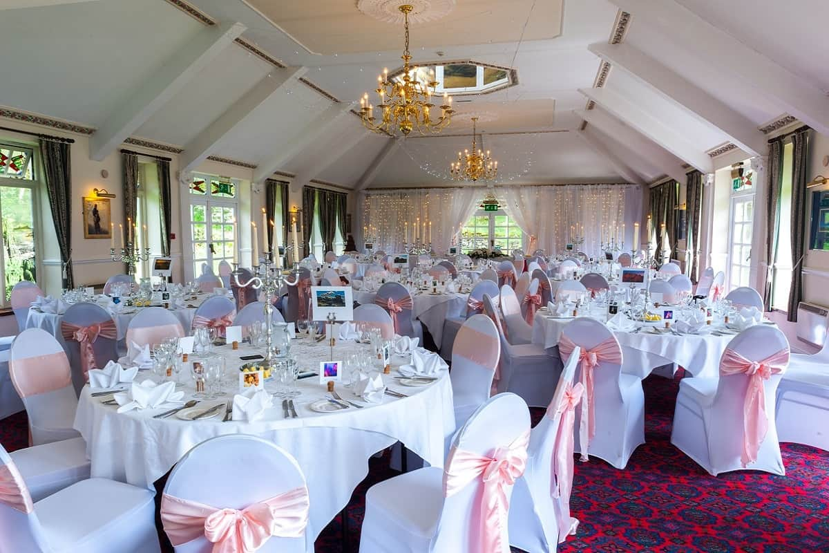 Winter Wedding reception in the Fountain Room Two Bridges Hotel