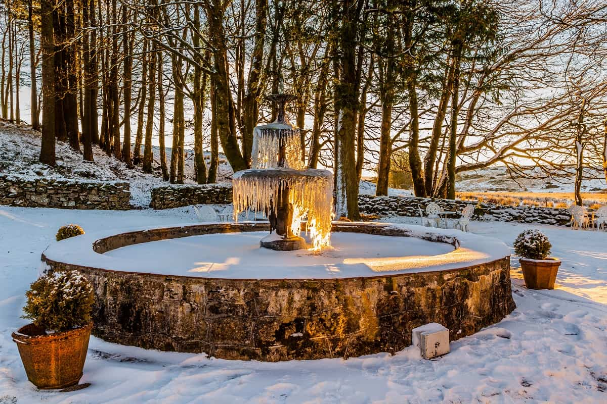 Fountain in Winter at Two Bridges Hotel