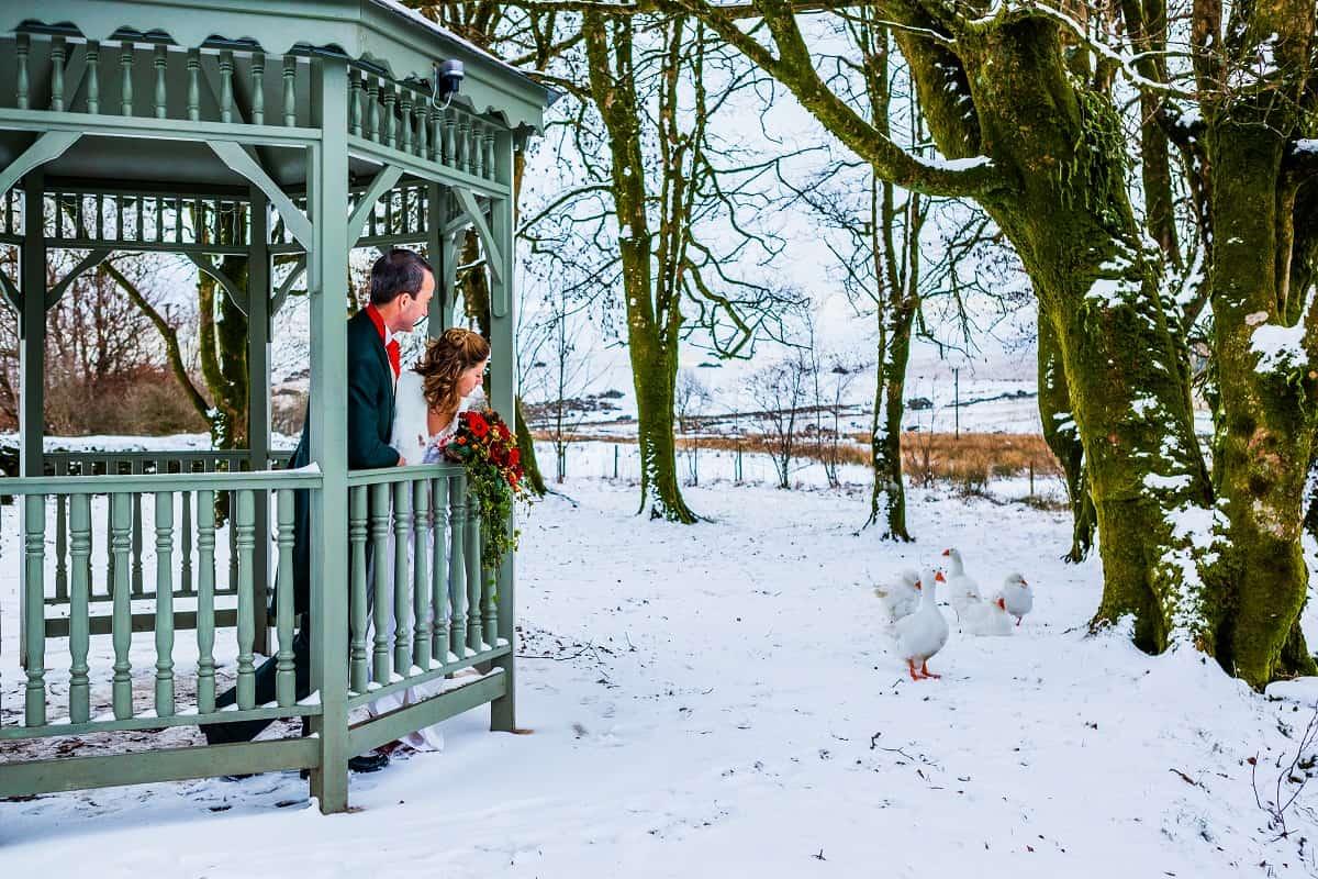 Bride and groom in the Riverside Wedding Pagoda