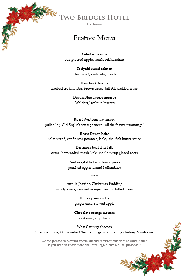 Two Bridges Hotel Festive Menu