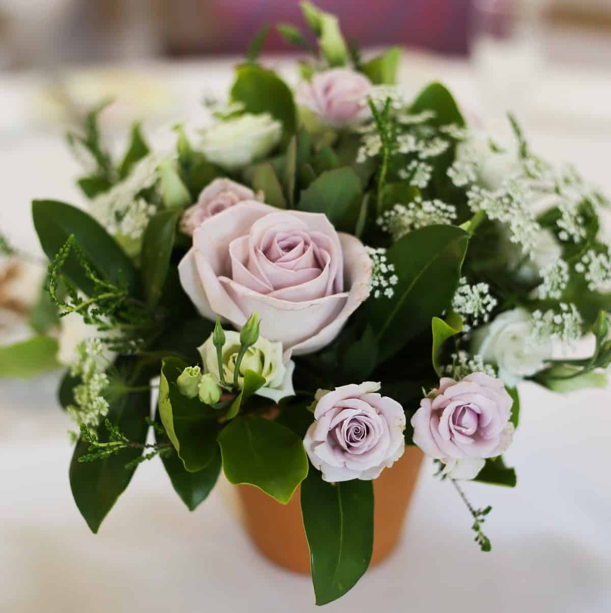 Flowers for a wedding at the Two Bridges Hotel