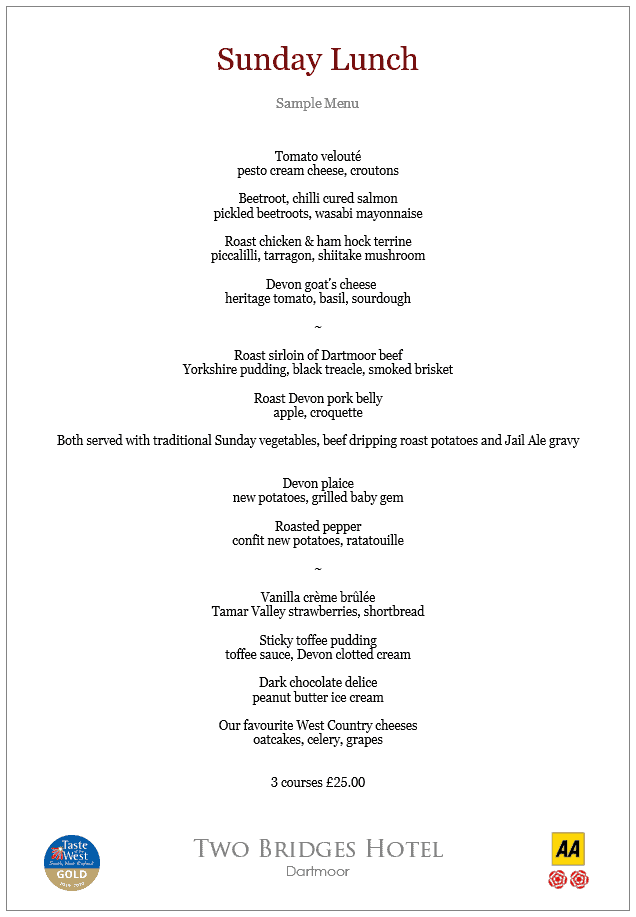 Sample Sunday Lunch Menu