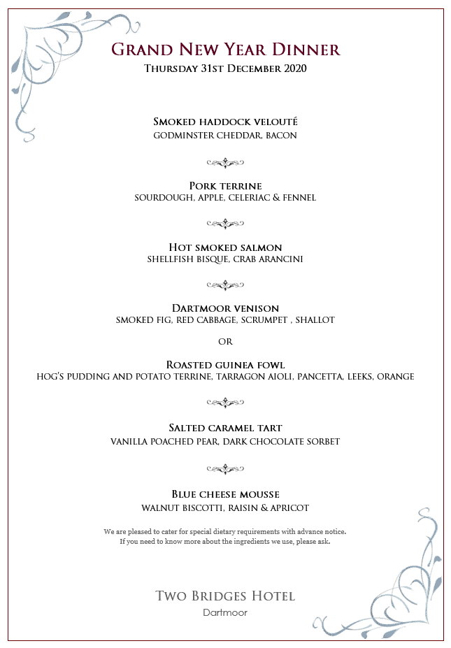 Dinner menu for New Year's Eve
