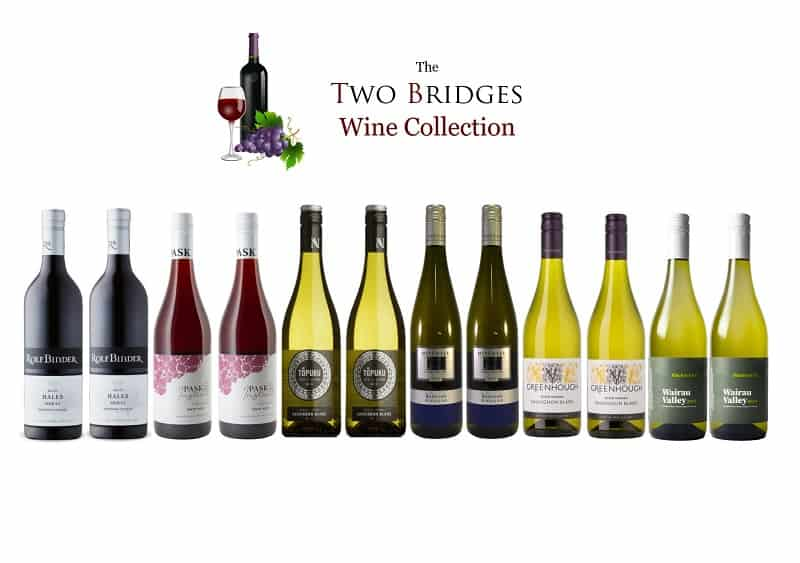 Mxed case of wines from Two Bridges Hotel wine collection