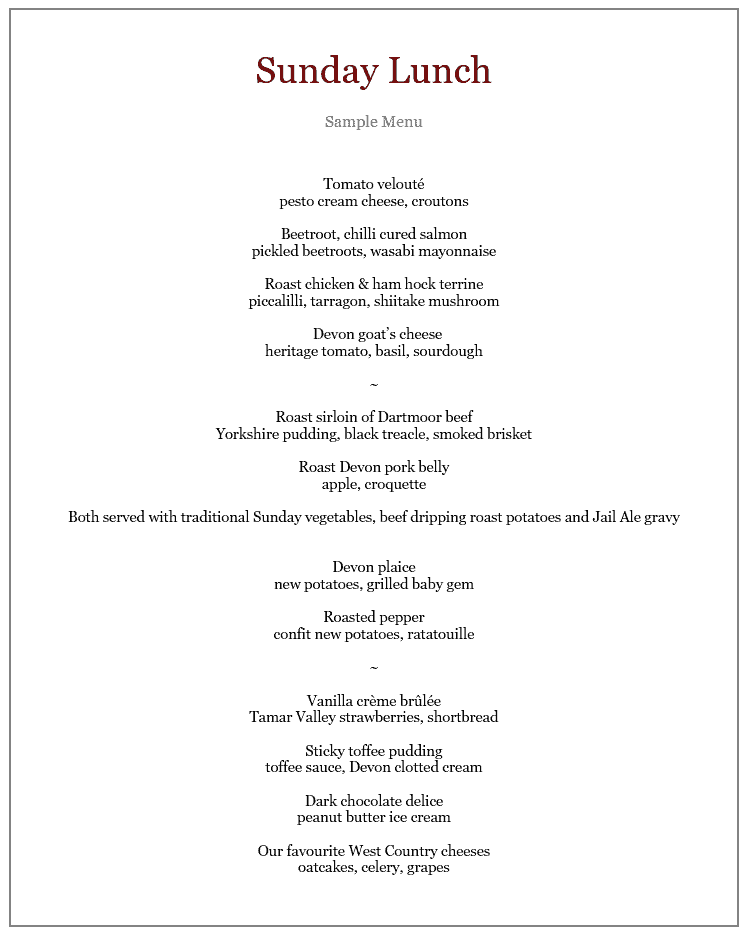Sunday Lunch Menu at the Two Bridges Hotel